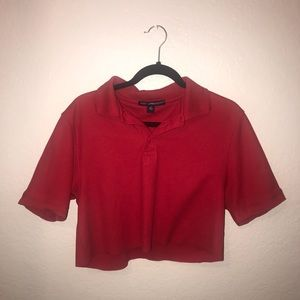 Red cropped polo
